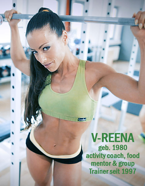 Trainerin V-Reena Gym Training activity coach food mentor V-Gain Rebellion